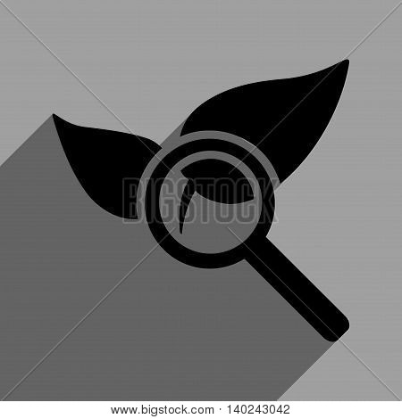 Explore Natural Drugs long shadow vector icon. Style is a flat explore natural drugs black iconic symbol on a gray square background with longshadow.