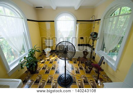 KEY WEST FLORIDA USA - MAY 03 2016: Bath room in the Hemingway House in Key West in Florida.