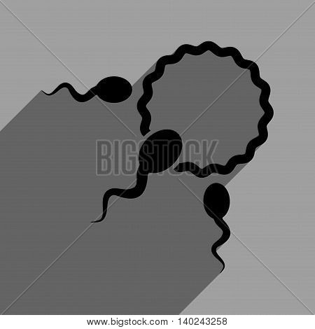Fertilization long shadow vector icon. Style is a flat fertilization black iconic symbol on a gray square background with longshadow.