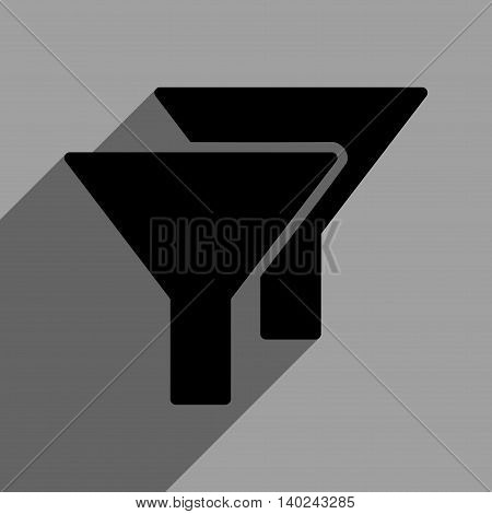 Filters long shadow vector icon. Style is a flat filters black iconic symbol on a gray square background with longshadow.