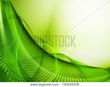 Abstract background element. Fractal graphics series. Three-dimensional composition of glowing lines and halftone effects. Information and energy concept. Green and white colors.