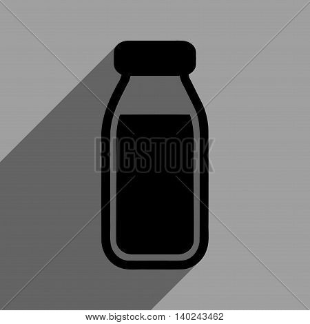 Full Bottle long shadow vector icon. Style is a flat full bottle black iconic symbol on a gray square background with longshadow.