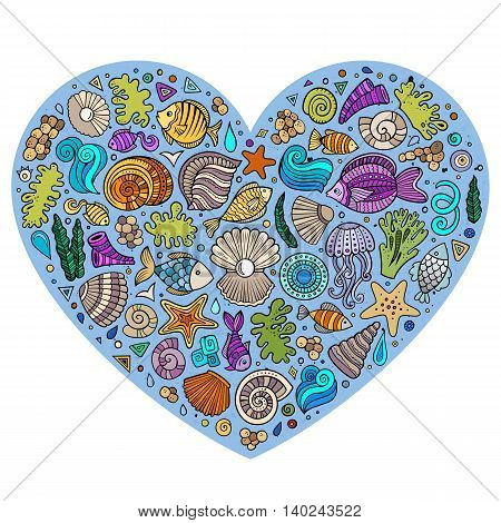 Colorful vector hand drawn set of Underwater life cartoon doodle objects, symbols and items. Heart form composition