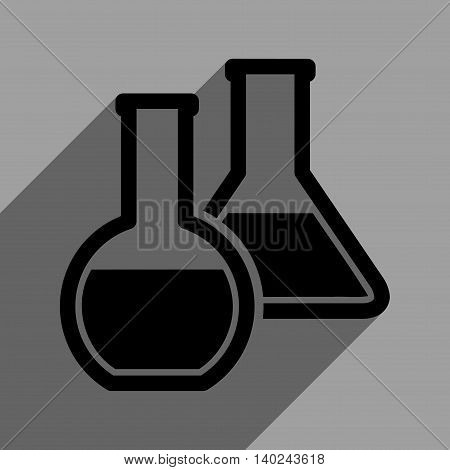 Glass Flasks long shadow vector icon. Style is a flat glass flasks black iconic symbol on a gray square background with longshadow.