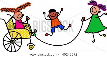 Happy cartoon stick children playing a skipping rope game.