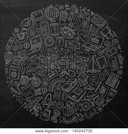 Line art chalkboard vector hand drawn set of Travel cartoon doodle objects, symbols and items. Round composition