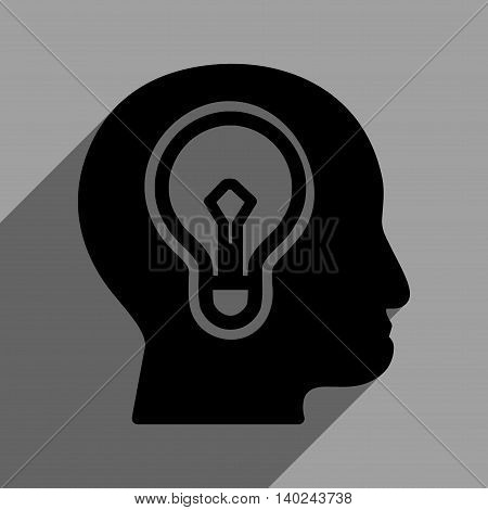 Head Idea Bulb long shadow vector icon. Style is a flat head idea bulb black iconic symbol on a gray square background with longshadow.