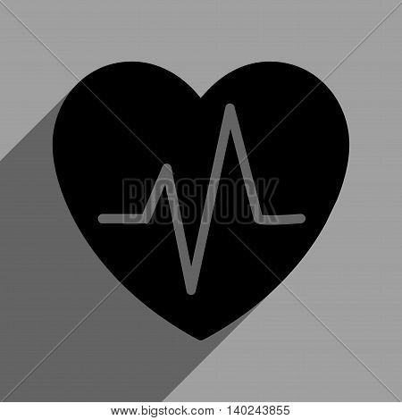 Heart Ekg long shadow vector icon. Style is a flat heart ekg black iconic symbol on a gray square background with longshadow.