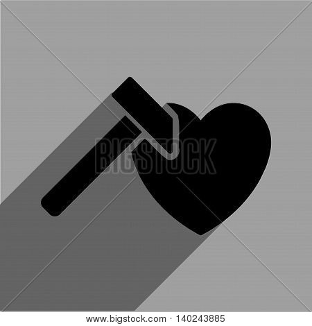 Heart Hammer long shadow vector icon. Style is a flat heart hammer black iconic symbol on a gray square background with longshadow.