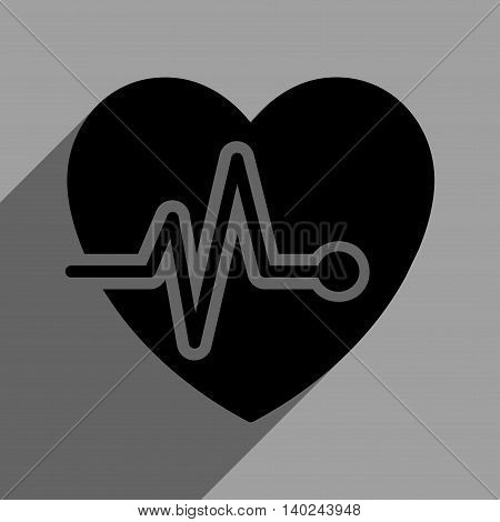 Heart Pulse long shadow vector icon. Style is a flat heart pulse black iconic symbol on a gray square background with longshadow.
