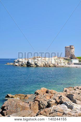 historic medieval Watchtower called Torre dei Appiani in Marciana Marina,Elba Island,Tuscany,Italy