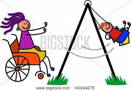 Happy cartoon stick boy being pushed on the swing by his disabled mum.