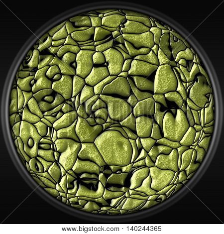 Illustration with abstract gold stones - decorative circular 3D pattern