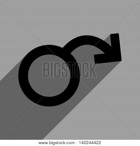 Impotence long shadow vector icon. Style is a flat impotence black iconic symbol on a gray square background with longshadow.