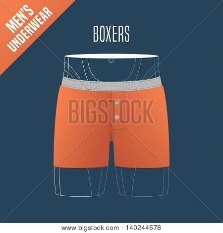 Men's underwear, shorts vector illustration. Design element, clothing detail for boxers male underwear model for poster, flyer, display in retail, store