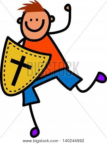Happy cartoon stick boy holding a shield with a cross shaped symbol designed onto it.