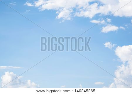 soft white clouds against blue sky for background design