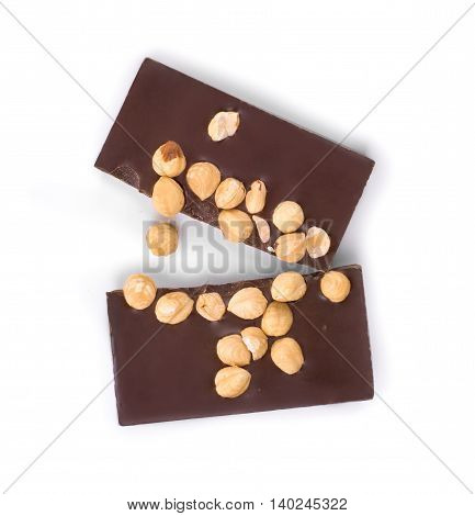 Chocolate candy with nuts isolated on white