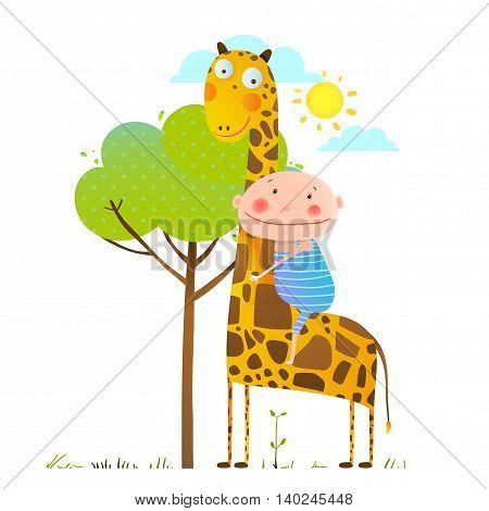 Happy friend, child cuddling giraffe, cartoon vector illustration