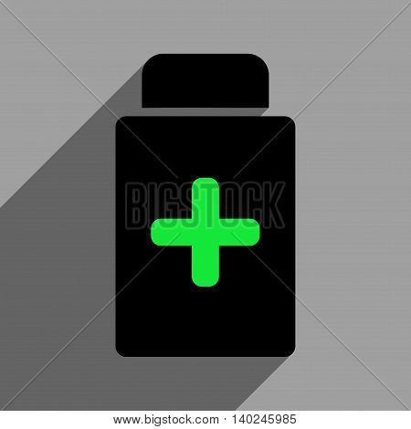 Medication Bottle long shadow vector icon. Style is a flat medication bottle black iconic symbol on a gray square background with longshadow.