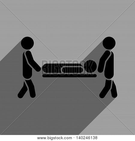 Medics Carry the Patient long shadow vector icon. Style is a flat medics carry the patient black iconic symbol on a gray square background with longshadow.