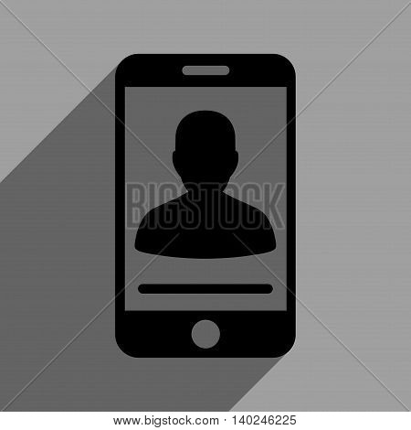 Mobile Contact long shadow vector icon. Style is a flat mobile contact black iconic symbol on a gray square background with longshadow.