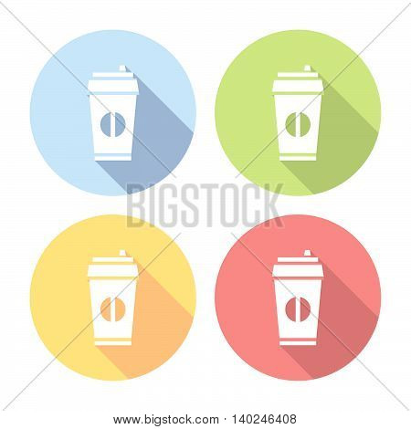 Coffe Paper Cup Flat Icons Set