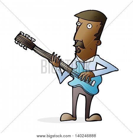 cartoon man playing electric guitar