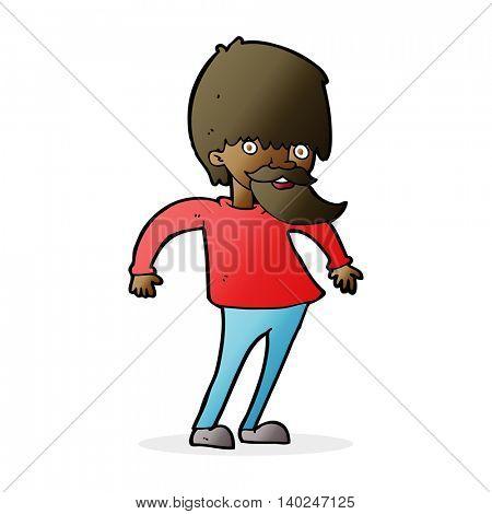 cartoon bearded man shrugging shoulders
