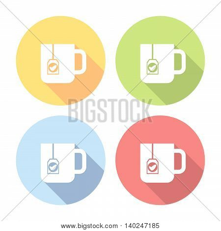 Tea Cup With Teabag Flat Icons Set
