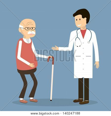 Old man visit a family doctor. Vector illustration flat design. Doctor with an elderly retired patient.