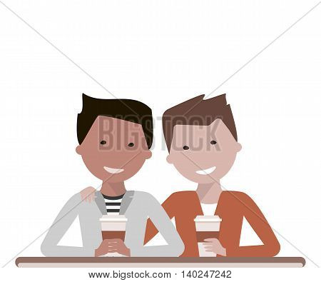 Two man friends drinking coffee or tea in a cafe talking and laughing. Friendship Day concept. Vector illustration flat design
