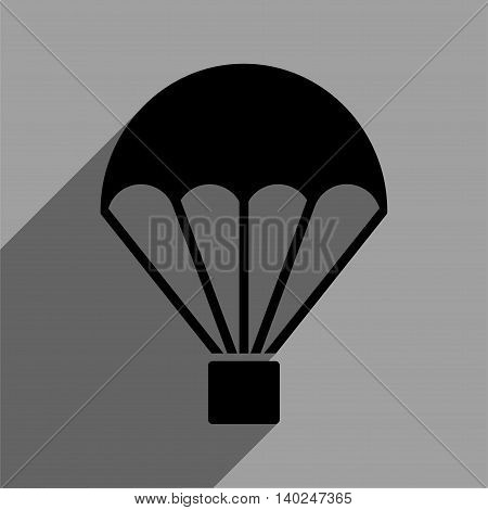 Parachute long shadow vector icon. Style is a flat parachute black iconic symbol on a gray square background with longshadow.