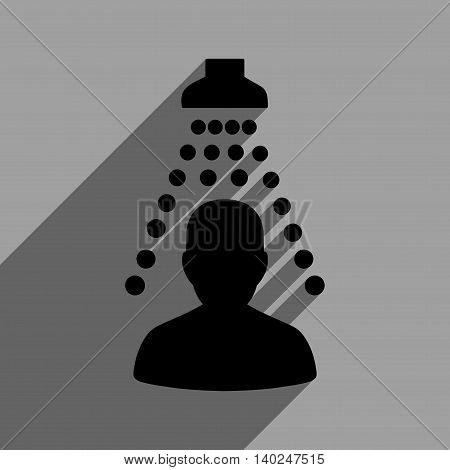 Patient Disinfection long shadow vector icon. Style is a flat patient disinfection black iconic symbol on a gray square background with longshadow.