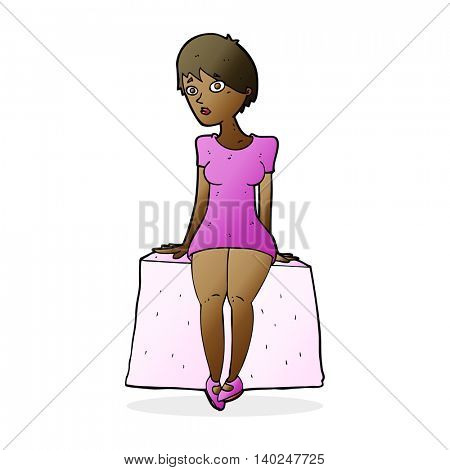 cartoon curious woman sitting