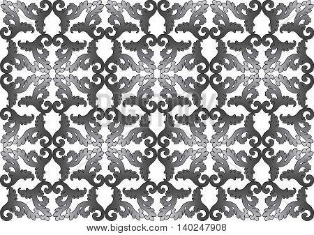 Vintage Acanthus leaves pattern ornament background. Vintage black and white color