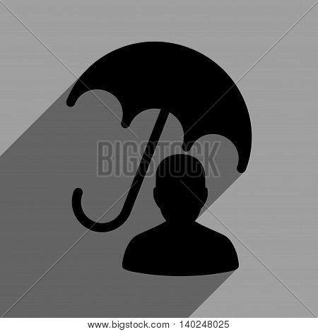 Patient Umbrella Care long shadow vector icon. Style is a flat patient umbrella care black iconic symbol on a gray square background with longshadow.