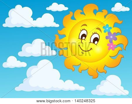 Happy spring sun theme image 2 - eps10 vector illustration.