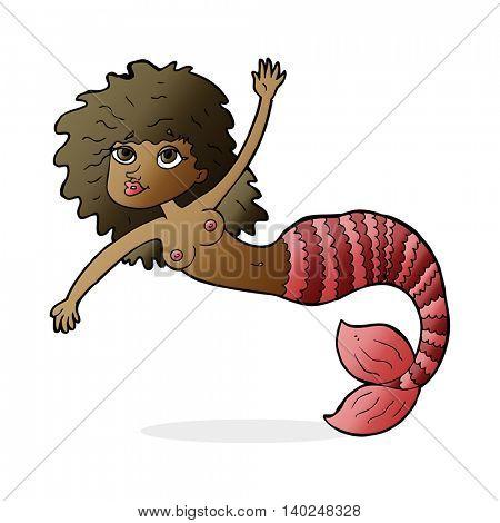 cartoon waving mermaid