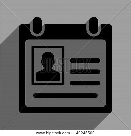 Personal Badge long shadow vector icon. Style is a flat personal badge black iconic symbol on a gray square background with longshadow.
