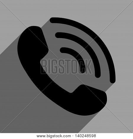 Phone Call long shadow vector icon. Style is a flat phone call black iconic symbol on a gray square background with longshadow.