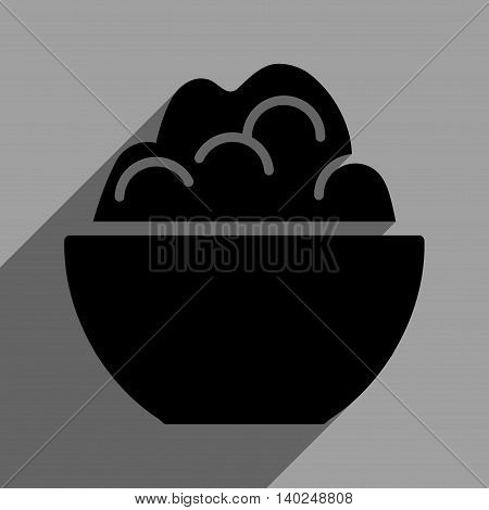 Porridge Bowl long shadow vector icon. Style is a flat porridge bowl black iconic symbol on a gray square background with longshadow.