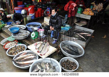 Asian Fish Market In Sapa, Vietnam