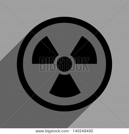 Radiation Danger long shadow vector icon. Style is a flat radiation danger black iconic symbol on a gray square background with longshadow.