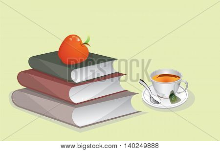 Books and Cup of Tea Vector illustration