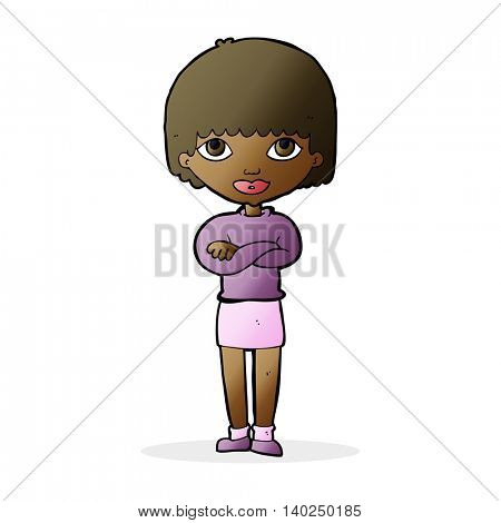 cartoon woman with folded arms