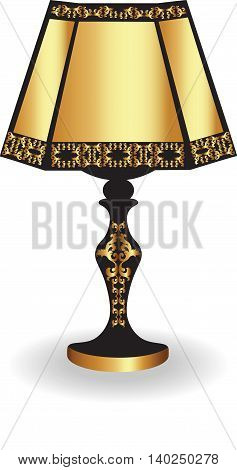 Vintage Classic Table lamp with luxury ornaments Gold and Black. Vector