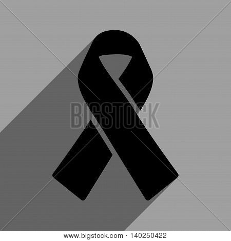 Solidarity Ribbon long shadow vector icon. Style is a flat solidarity ribbon black iconic symbol on a gray square background with longshadow.