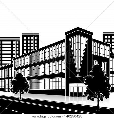 silhouette office building with the entrance and a reflection on the background of the street