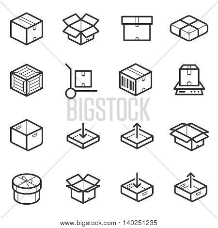 Package line thin icons vector set. Boxes, crates, containers and package for shipping. Illustration package box for delivery and transportation